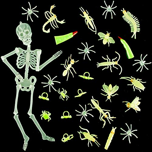 Biubee Halloween Glowing Bug Toys- Glow Bugs, Plastic Spiders, Glow Bug Rings, Glow Skeleton and Witch Fingers for Halloween Party ()