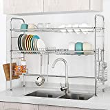 NEX Over the Sink Dish Drying Rack 2 Tier Stainless Steel Dish Rack Adjustable Kitchen Counter Organizer