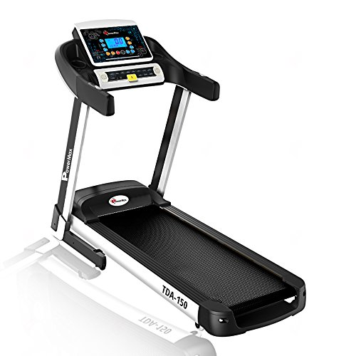 PowerMax Fitness TDA-150 Series (5.0HP Peak) Motorized Foldable, Electric Treadmill (DIY and Virtual Assistance)【Smart Run Function   Auto Lubrication   Spring Resistance】Running Machine for Max Pro-Workout by Walk, Run & Jog at Home