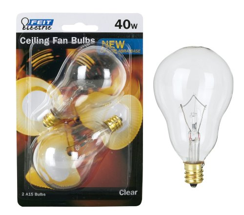 Feit Ceiling Fan Bulb 40W 120V Clear Candelabra E12 Base BP40A15C/CL/CF (2 PACK)