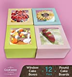 CooKeezz Couture - Cake Box - Colored Window Bakery Packaging Decorated Boxes Great for Donuts , Bakery , Pies - Assorted 12 Pack Decorated Boxes in 4 Pastel Colors , Included 12 Round Cake Boards