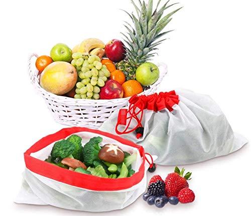 Bolsa de Compras para Frutas y Verduras 3 tama/ños Diferentes Pack de 9 Bolsas de Almacenamiento Reutilizables de Malla Lavable Tina