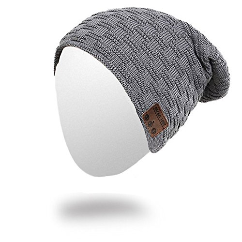 Momoday Bluetooth Beanie Knitted Winter Warm Music Unisex Hat Cap with Bluetooth Headphone Microphone for Hands Free Talking Winter Sports Fitness Gym Jogging Camping (DarkGray1)