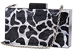 Womens Evening Bags Marble Acrylic Box Clutch Purse for Banquet