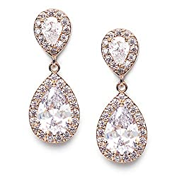 Rose Gold Rhinestone Teardrop Dangle Earrings