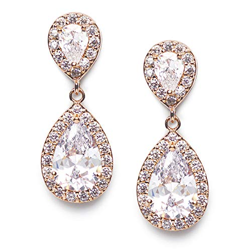 (SWEETV Teardrop Dangle Earrings for Brides,Cubic Zirconia Rose Gold Drop Earrings for Women - Prom,Pagegant,Wedding Jewelry)