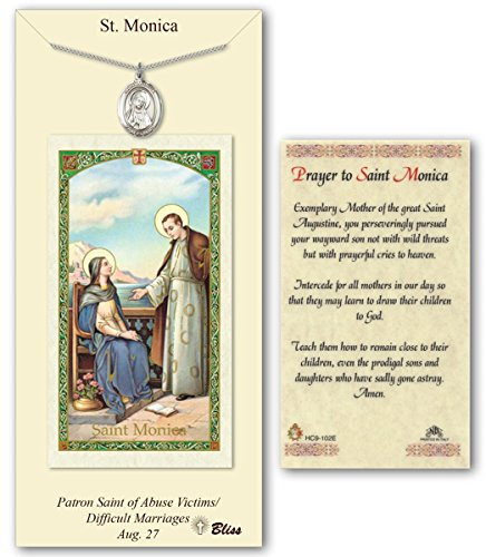 Pewter Saint Monica Medal with Laminated Holy Prayer Card ()