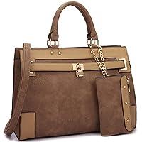 Women's Two Tone Fashion Handbag For Women Top Handle Satchel Bag Padlock Designer Purse With Matching Wristlet