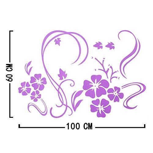 Stylish Modern Flower Wall Stickers Vinyl Art Decals - Purple