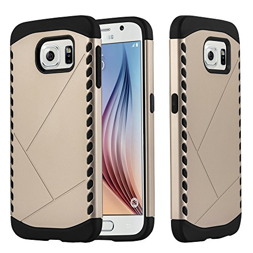 Cadorabo - TPU Silicone Hard Cover for Samsung Galaxy S6 Hybrid Case in Outdoor Heavy Duty Design – Bumper Skin Protection in GUARDIAN-GOLD