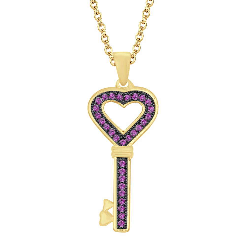 Dividiamonds 1.28 Ct Round Cubic Zirconia Diamond Heart Lock Key Pendant 18 Chain 14K Yellow Gold Plated