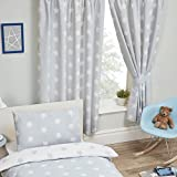 Price Right Home Grey and White Stars Lined Curtains 66' x 72' Drop Kids Bedroom Curtains