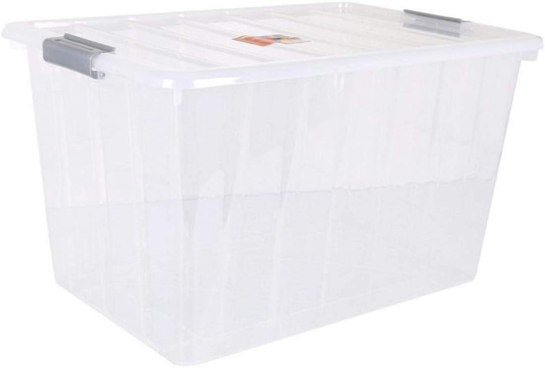BigBuy Home Caja De Almacenaje con Tapa Thais 80 L Transparente: Amazon.es: Hogar