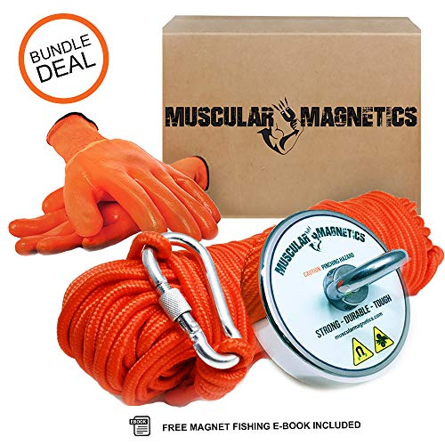 925lb Fishing Magnet Bundle Pack - Includes 6mm 100ft High Strength Nylon Rope with Carabiner, Non-Slip Rubber Gloves & Super Strong 925lb (420kg) Pulling Force Rare-Earth Magnet with Eyebolt (Best Magnets For Magnet Fishing)