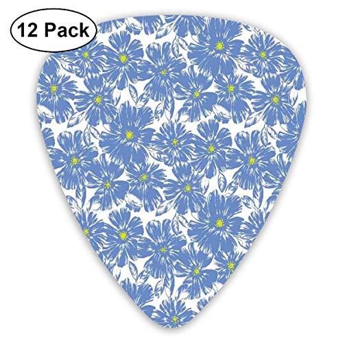- Guitar Picks 12-Pack,Corsage Daisy Jasmine Petals Fragrance Botanical Beauty Pastel Nature Design