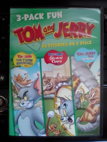 Tom and Jerry 3 Pack Fun DVD SET - 40 Episodes on 3 Discs Includes Fur-flying Adventures Vol 1, Greatest Chases Vol 2, and Tom and Jerry Tales Vol. 1