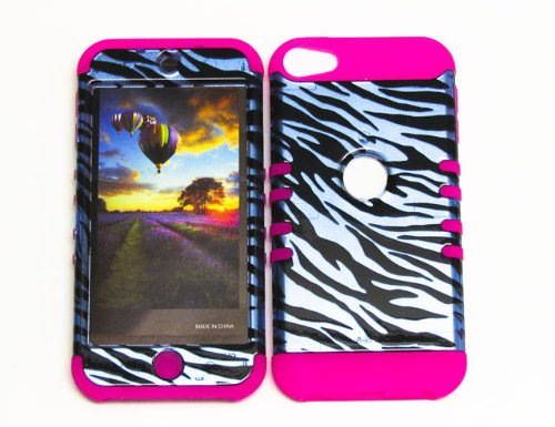 HYBRID SHOCK RESISTANT BUMPER COVER SOLID CASE AND HOT PINK SKIN WITH STYLUS PEN KOOLKASE ROCKER FOR Apple IPod ITouch 5 ZEBRA MA-TP1304-S
