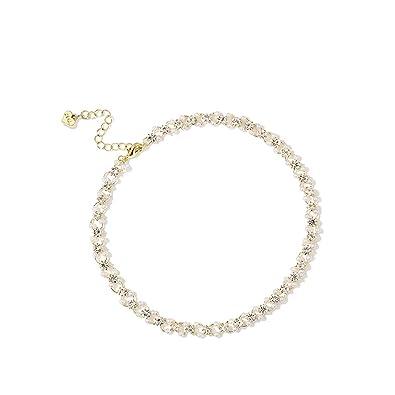IGEMA 14K Gold//Platinum Chain Cute Beaded Rhinestone Bracelets Dainty Jewelry for Women