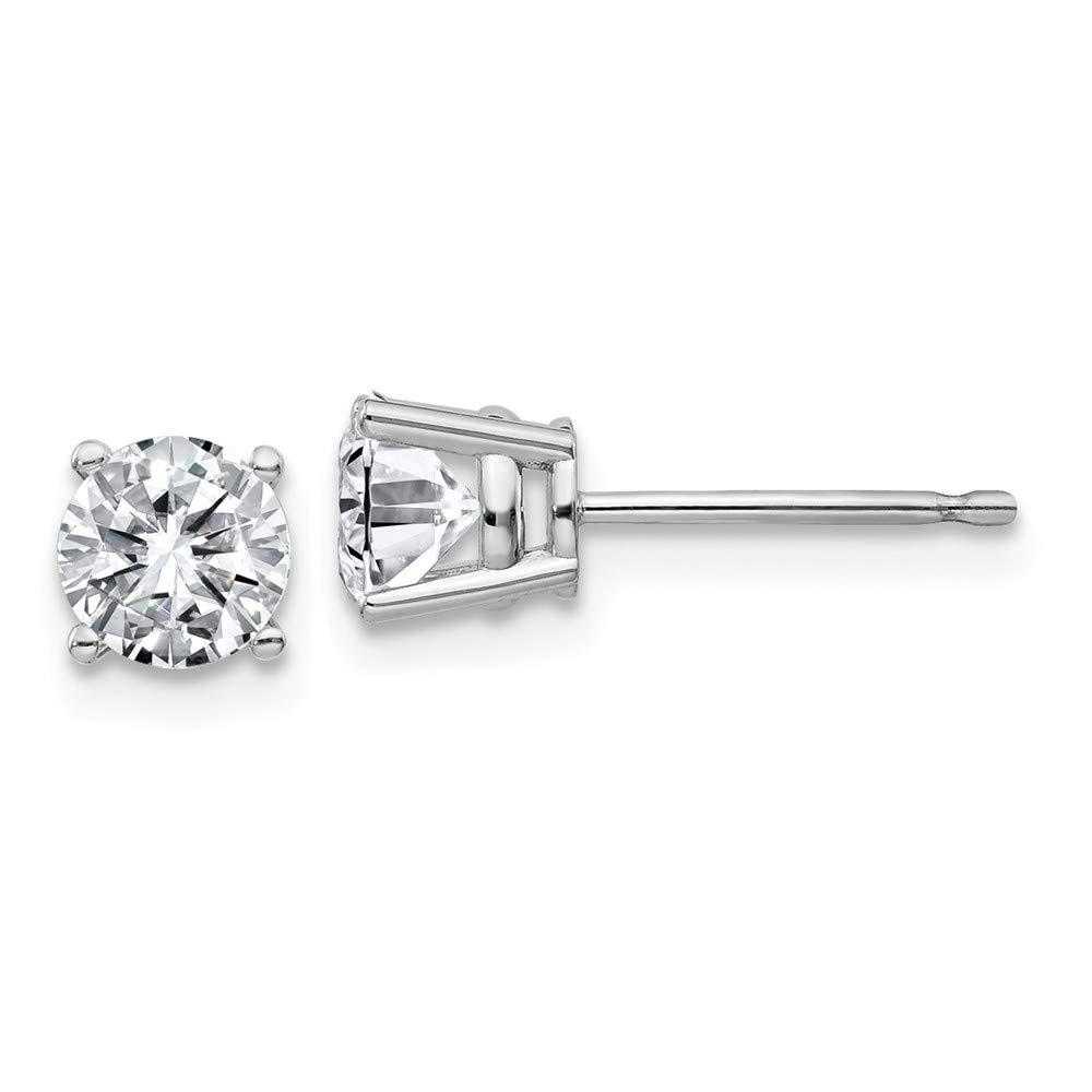 FB Jewels 14K White Gold 1.00ct. 5.0mm Round Moissanite 4-Prong Basket Post Earring