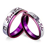 Aooaz Engagement Rings Wedding Promise Rings Stainless Steel Womens Rings Mens Rings Purple Love Token Cubic Zirconia Rings With Free Engraving Womens 7 & Mens 9 Novelty Jewelry Gift