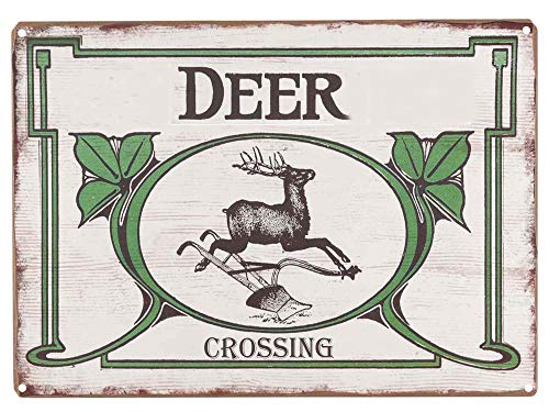 - LASMINE Tin Signs Deer Crossing Open Road Brands Vintage Retro Wood Plaque Antique Sign Garage Man Caves Farm and Home Decor Outdoor Yard 8X12Inch