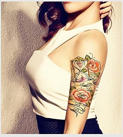 MRKAL Wasserdicht Temporäre Tätowierung Sleeve Aufkleber Nette Rose Blumen Sanduhr Große Design Body Art Bilden Werkzeug 19X1