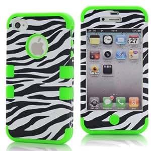 SHHR-HX4G136N Zebra Design Hybrid Cover Case for Apple iPhone4 4s 4G -Green Color