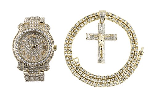 Iced Out Metal Band Bling Watch & Iced Out Crucifix Pendant with Matching 24 inch One Row Tennis Necklace Gift Set- (Gold)