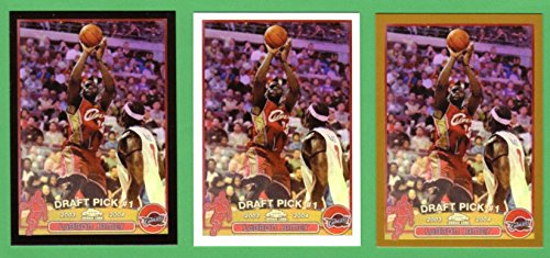 LeBron James 2003-04 Topps Chrome Basketball Rookie Reprint (3) Card Lot ***Regular Card, Gold Border Card, Black Border Card*** (Cavaliers) (Heat)