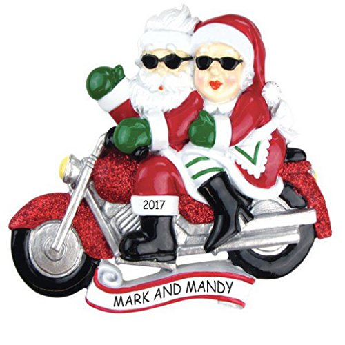 Personalized Motorcycle Mr & Mrs Claus Couples Christmas ...