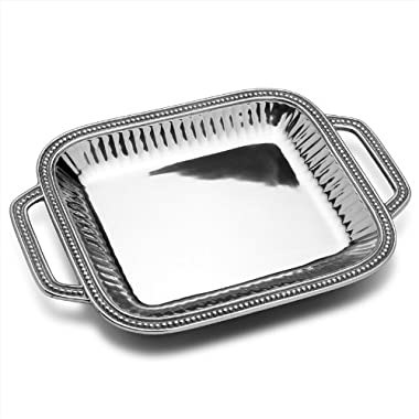Wilton Armetale Flutes and Pearls Rectangular Serving Tray with Handles, 18-Inch-by-12-Inch  - 272484