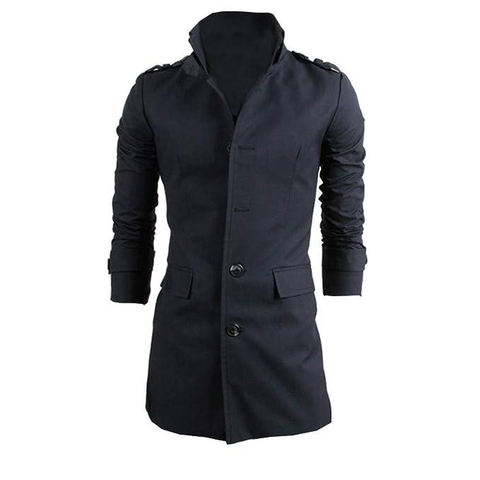 BaZhaHei-Chaqueta de Hombre Chaqueta de Hombre cálido Invierno Trinchera  Largo Outwear botón Elegante Abrigo 994eb1719b5b