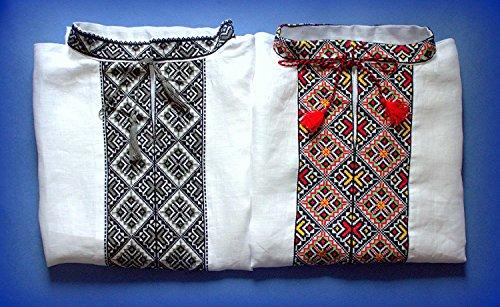 아버지의 날 판매 세트 2VYSHYVANKA 남자 우크라이나어 수 놓은 흰색 리넨 셔츠 웨딩 수제 XL