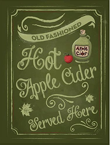 Apple Rustic (OMSC Hot Apple Cider Metal Sign, Rustic, Kitchen Décor, Autumn, Fall)