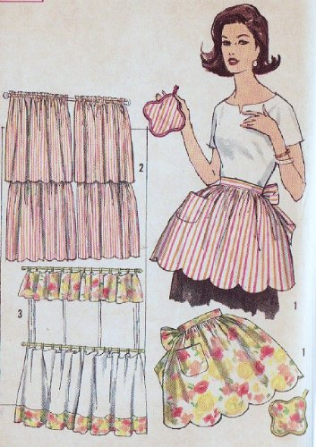 Simplicity 4215 Misses' Apron, Pot Holder, 2 Styles of Cafe Curtians One Size Sewing Pattern, Vintage 1940s Hostess