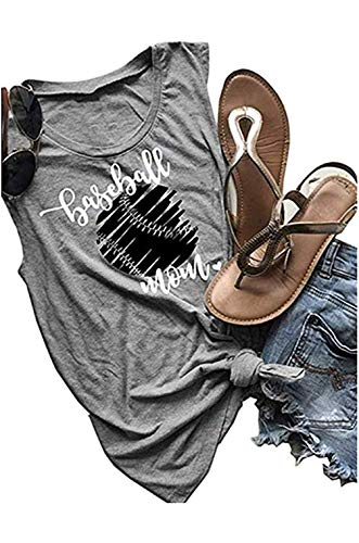 UNIQUEONE Baseball Mom Tank Tops Women Sleeveless Letter Print T Shirt Graphic Funny Vest Size L (Gray)