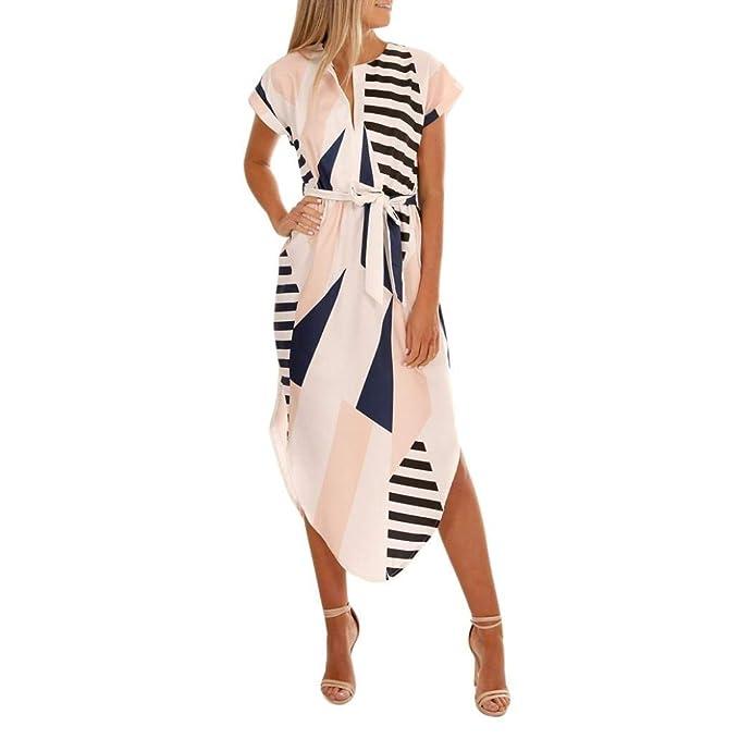 f901c57cf Vestidos De Damas Mujeres De Las Ocasionales De La Mode De Marca Raya  Impresa Vestido Largo Vestidos De Playa De Manga Corta con Cuello En V  Irregular ...