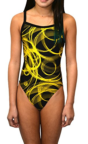 Adoretex Women's Pro One Piece Athletic Swimsuit-FN025 - Black/Yellow - 36