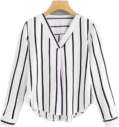NOBRAND Camisa de Rayas Irregulares con Cuello en V para ...