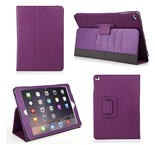 Bear Motion for iPad Air 2 - Genuine Leather Folio Case for iPad Air 2 with Built in Stand (Supports Smart Cover Function) (Purple)