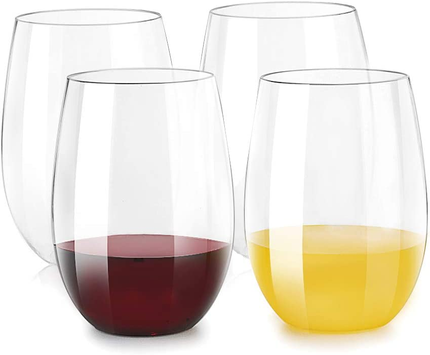 Inewex Unbreakable Plastic Stemless Wine Glasses 16 oz | Elegant Shatterproof Tritan Glassware | Durable Reusable Plastic Indoor/Outdoor Cups | Dishwasher Safe - Set of 4