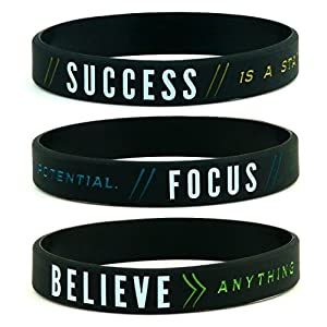 Inkstone Success, Focus, Believe Motivational Silicone Wristbands, 6-Pack – Unisex Adult Size for Men Women 51twrOcIcLL