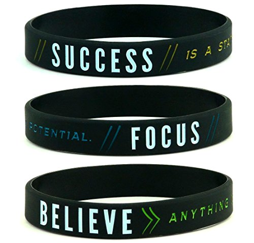 Inkstone Success, Focus, Believe Motivational Silicone Wristbands, 6-Pack - Unisex Adult Size for Men Women