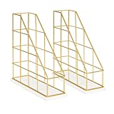 Kate and Laurel Benbrook Metal and Wood Magazine File Holder Desk Organizers, Set of 2, White and Gold
