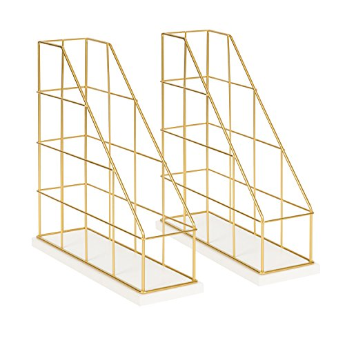 Kate and Laurel Benbrook Metal and Wood Magazine File Holder Desk Organizers, Set of 2, White and Gold by Kate and Laurel (Image #5)