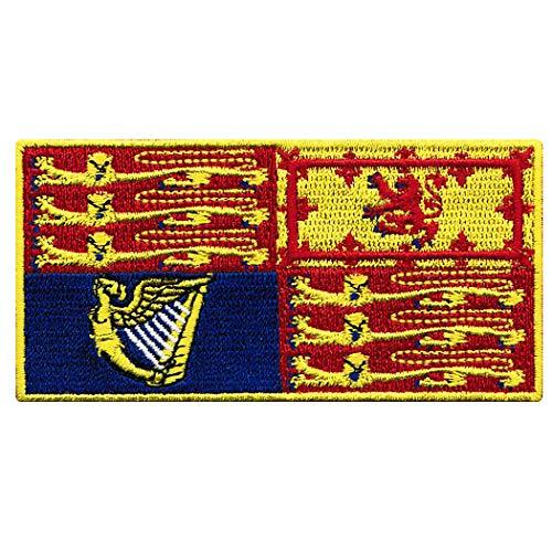 (Queen Elizabeth II Royal Standard Flag Embroidered Patch United Kingdom Sovereign British England UK Great Britain Iron-On Emblem)