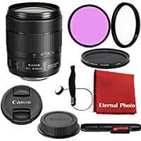 Canon EF-S 18-135mm f/3.5-5.6 IS USM DSLR Lens Bundle With Filters, Lens Cap Keeper and More