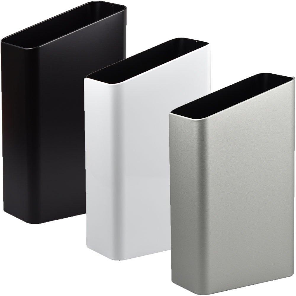 ぶんぶく サイドバケット 大 全9色の中から選べる3個セット ゴミ箱 ごみ箱 ダストボックス おしゃれ 日本製 B075GM5WH1 ブラック×ホワイト×シルバーメタリック ブラック×ホワイト×シルバーメタリック