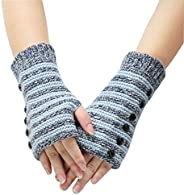LerBen Women Knitted Stripe Warm Fingerless Gloves Autumn Winter Button Warmer...