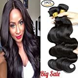 Brazilian Body Wave 3 Bundles Virgin Human Hair Weft  Body Wave Hair Extensions Natural Black (14 16 18 Inch) Review